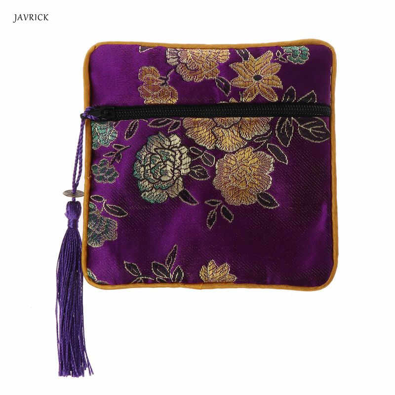 Classique chinois broderie bijoux sac organisateur soie gland traditionnel poche perles stockage titulaire mariage bijoux emballage