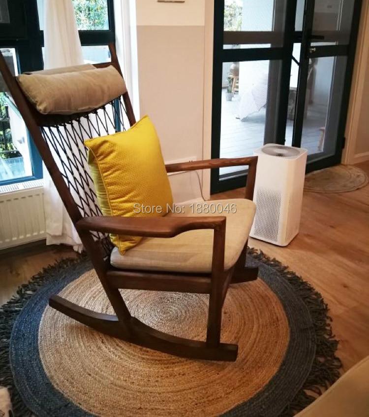Tapis nordique en jute naturel tapis de Style rond français tapis rond fait à la main tapis d'herbe en rotin et tapis pour le salon de la maison