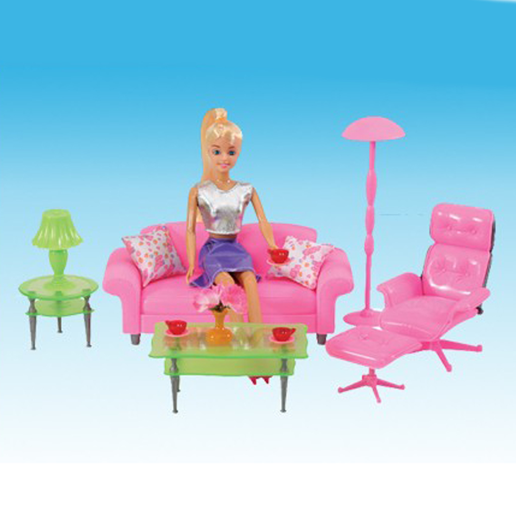 1/6 Pink Sofa End Table Recliner Set for   Dollhouse Living Room Furniture Kit Action Figures Accessory Decoration recliner