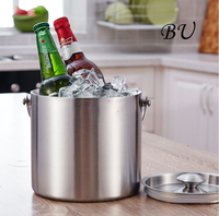 3L 2L Double Wall Insulated Stainless Steel Ice Bucket Wine Champagne Whisky Cooler Bonus Ice Tongs