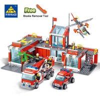 KAZI 8051 Building Blocks Fire Station Model Building Blocks 774 Pcs Bricks Block ABS Plastic Educational