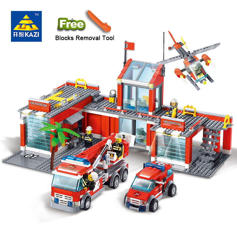 KAZI 8051 Building Blocks Fire Station Model Building Blocks 774+pcs Bricks Block ABS Plastic Educational Toys For Children enlighten building blocks military submarine model building blocks 382 pcs diy bricks educational playmobil toys for children