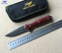 NIGHTHAWK ST1502 Flipper folding knife Damascus steel blade Wood handle camping hunting   pocket Kitchen knives EDC tool