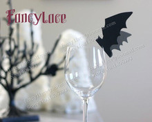 60Pcs DIY Bat Shape Place Card Wedding Birthday Party Wine Glass Cap Cards Table Decoration Halloween