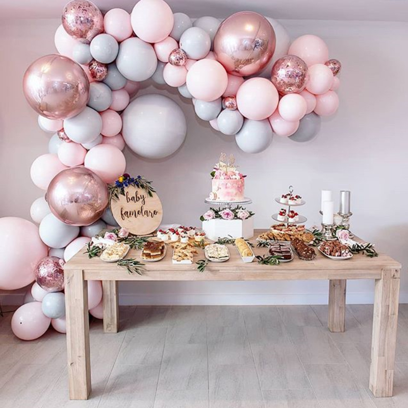 """323pcs/set Macaron Balloon Arch Garland Kit Double Stuffed 5"""" 18"""" Pink Gray Rose Gold Confetti Balloons Wedding Party Decoration-in Ballons & Accessories from Home & Garden"""