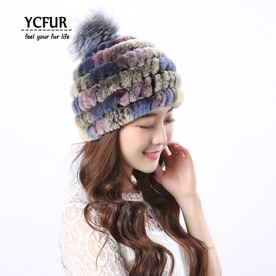 YCFUR Women Caps Hats Winter Autumn Knit Real Rex Rabbit Fur Hats With Silver Fox Fur Pom Pom Hat Beanie For Girls книги издательство clever пингвиненок пороро пороро и волшебная дудочка