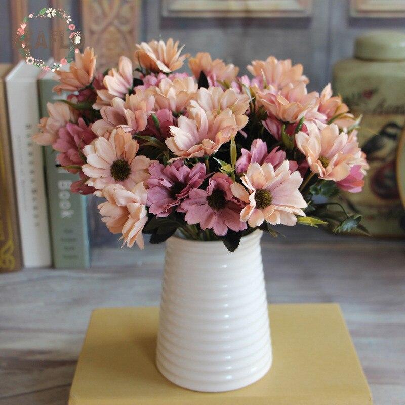 1 Bunch Europäischen Künstliche Blume Gefälschte Daisy 10 Köpfe Bouquet Handwerk Hochzeit Anordnung Hause Dekoration 6 Farben Einfach Zu Schmieren
