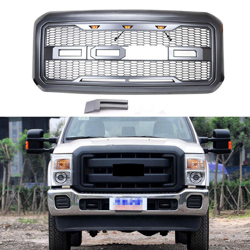 Car Racing Grille For Ford F250 F350 Grill 2011-16 Emblems Mesh Black Radiator Front Bumper Covers Lower Modify With Letter/3LED 2pcs car racing grille for ford fiesta 2014 2015 2016 grill abs black radiator chrome front bumper upper lower modify mesh