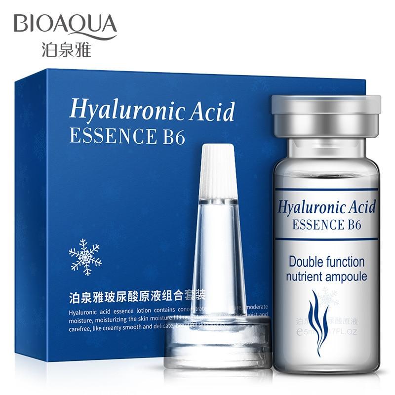 BIOAQUA HA Hyaluronic Acid Liquid 5ml*10 Bottles Snail Pure Extract Moisturization Whitening Rejuvenation Face Care Cream Serum