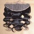 7А 13*4 дюймов кружева фронтальной отбеленные узлы бразильский кружева фронтальная закрытие с волосами младенца