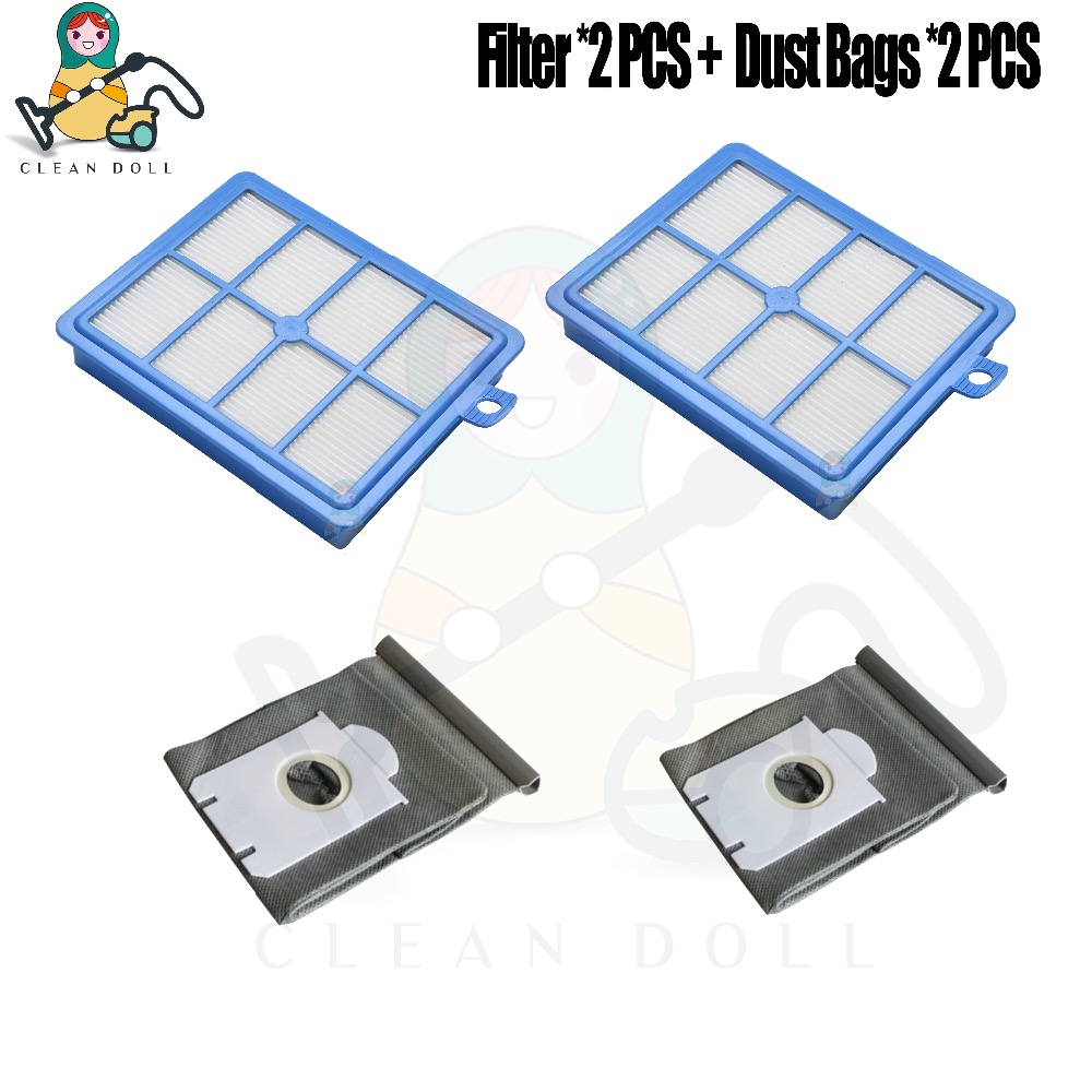4-PACK Hepa Filter and washable dust bags S-bag For Philips FC9172 FC9083 FC9087 FC9088 FC9258 FC9261 Cleaner Parts цена и фото