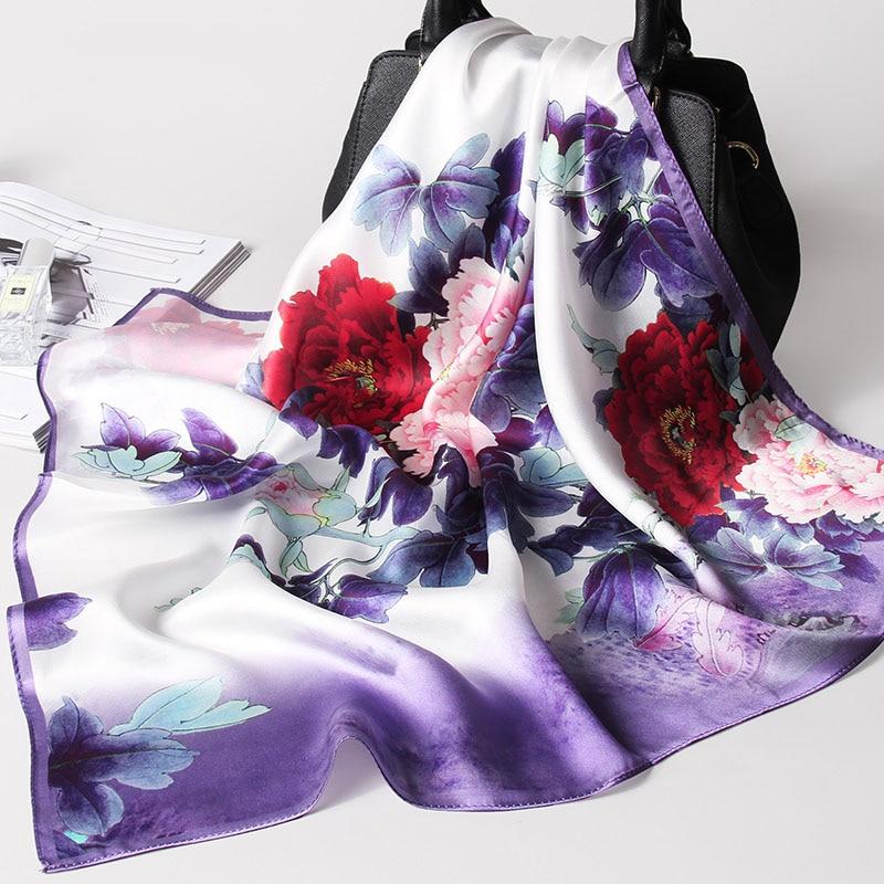 Women 100% Real Silk Square   Scarf     Wraps   Summer Thin Style Women's Print Handkerchief Foulard   Scarves