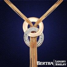 Caliente encantos románticos borla largo collar suéter cadena con Swarovski cristales elementos para mujeres Colar gargantilla joyas Joyeria