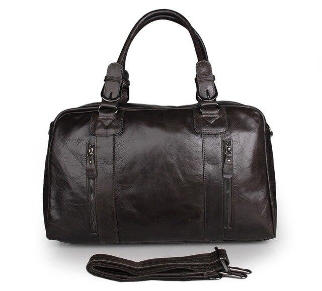 J.M.D New Spring Design Rushed Travel Bags Grey Genuine Leather Men s Large  Tote Bag Huge 18 15179eb28a