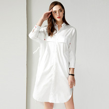 High quality loose dress New 2019 spring long sleeves white/black Shirt G144