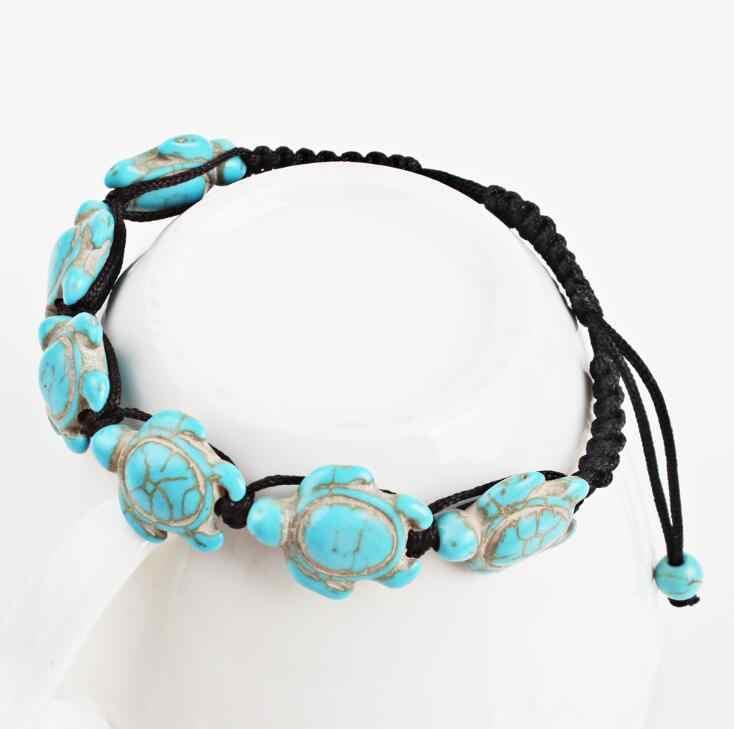 Nowy 2018 moda boho Wrap biżuteria śliczne Turtle koraliki bransoletki dla kobiet regulowana czarna lina pleciony łańcuch ręczny bransoletka prezent