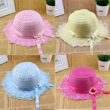 Lovely Children Girls Lace Flower Node Hat Sun Straw Visor Summer Beach Hat