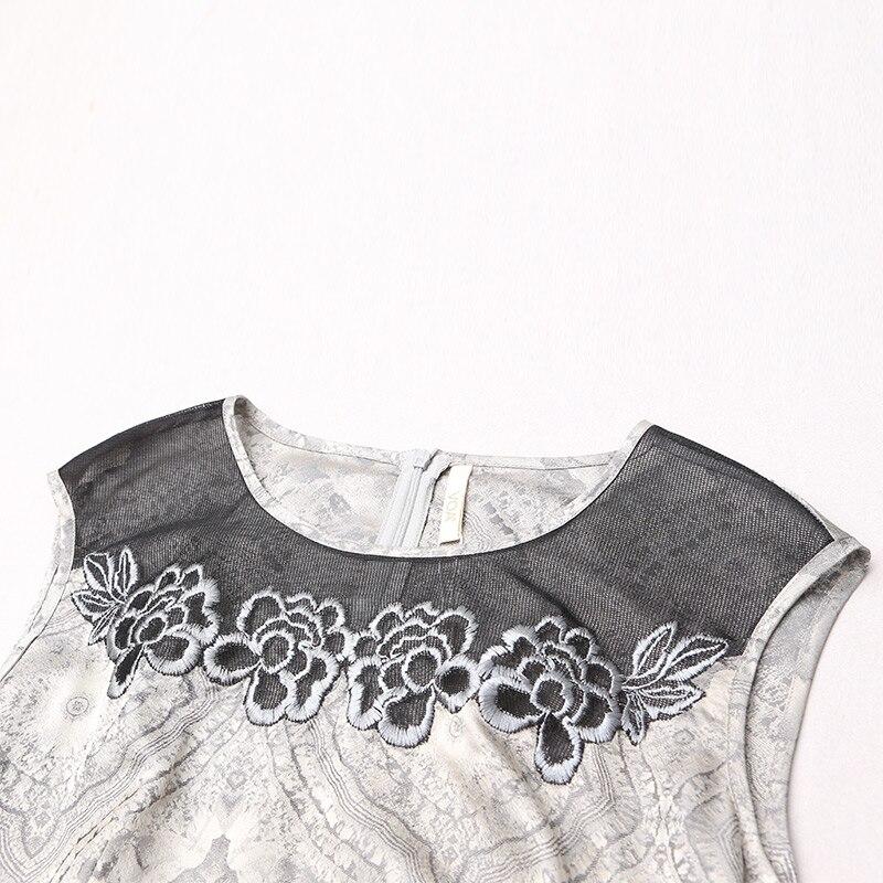 A7688 Long Rétro Argent Noir Robe Tunique Taille Swing Broderie Soie Haute Jacquard Vêtements Maille Voa Partie Piste Mince Robes Femmes rhdotsQCxB
