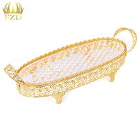 1 Piece Glass Fruit Serving Tray Golden Plate Decorative For Wedding Party Supplies And Home Decoration