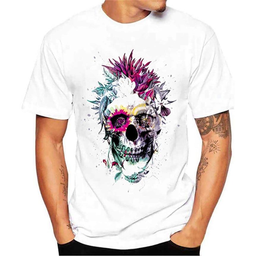 Chamsgend Punk Skull Print Mens Casual T Shirt Summer Tees Tops 80322