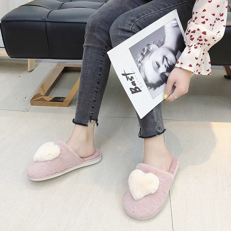 Liren 2019 New Summer Women's Slipper Home Shoes for Women Fashion Lovely Heart Pattern  Indoor House Slippers with Fur Casual