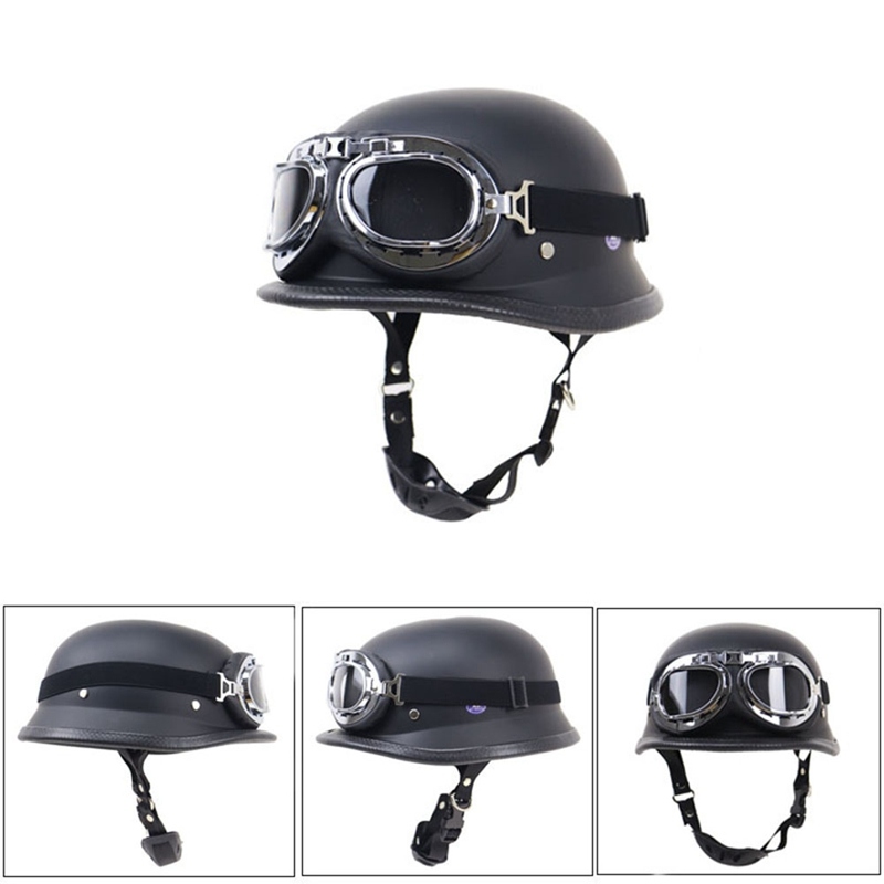 Black Leather Motorcycle Half Face Motorcycle Woker Outdoor Helmet With Protective Goggles