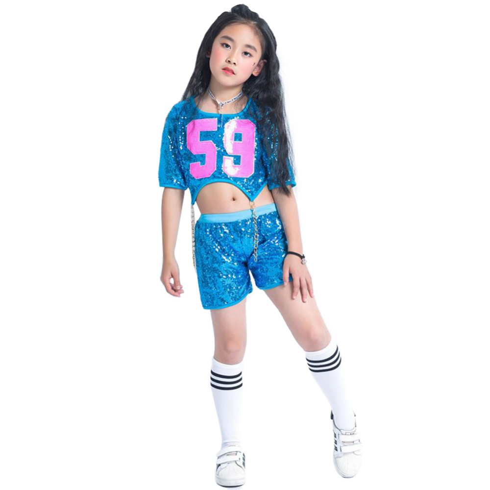 Children Girls Sequins Blue Jazz Hiphop Dance Costume Street Dance Outfit Glitter Gold Chain Clothing set With Socks Children Girls Sequins Blue Jazz Hiphop Dance Costume Street Dance Outfit Glitter Gold Chain Clothing set With Socks