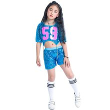 Children Girls Sequins Blue Jazz Hiphop Dance Costume Street Dance Outfit  Glitter Gold Chain Clothing set With Socks 20e3537bd236