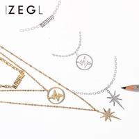 ZEGL Multilayer Sweater Chain Hip Hop Pendant Necklace Personalized Necklace Layered Necklace