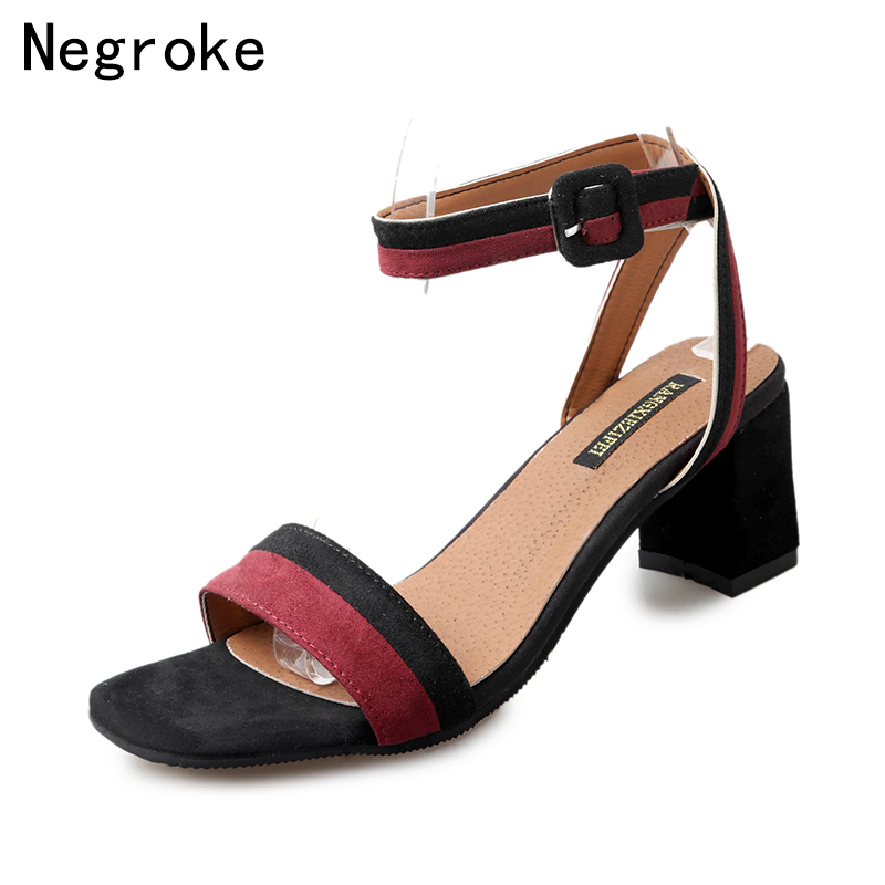 New Fashion Women Shoes High Heels Sandals Open Toe Flock Hoof Ankle Strap Sexy Slingback Gladiator Sandals Summer Dress Shoes brown suede lace up summer sandals botas high brand gladiator sandals women shoes slingback sexy stiletto ankle strap sandalias
