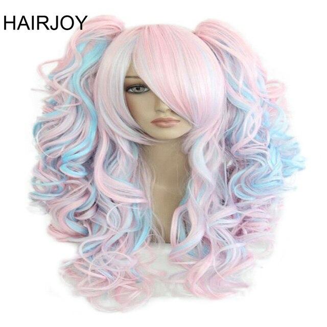 HAIRJOY נשים 70cm ארוך כחול מעורב ורוד גלי קלוע 2 קוקו סינטטי מסיבת פאת קוספליי 30 צבעים זמינים