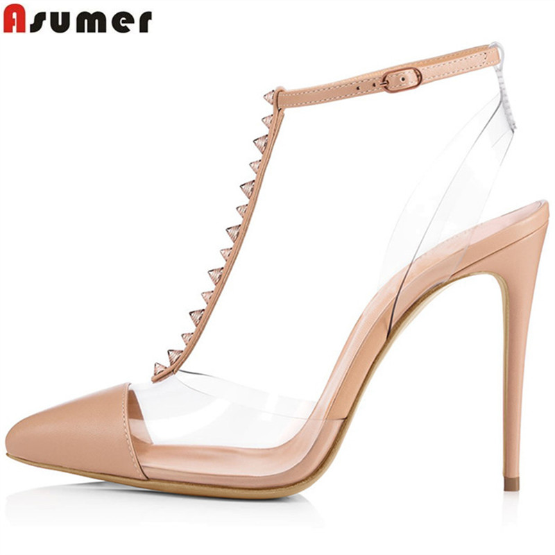ASUMER 2018 fashion spring autumn shoes woman pointed toe elegant wedding woman pumps women shoes high heels shoes plus size asumer black beige pointed toe buckle square heel spring autumn shoes woman pumps elegant ladies high heels shoes size 33 46