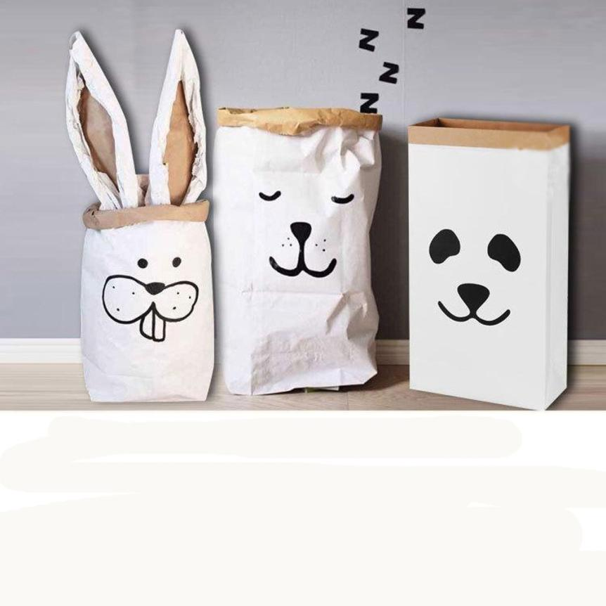 Heavy Kraft Paper Bag Children Room Bag Patterns Laundry Pouch for Baby Toy