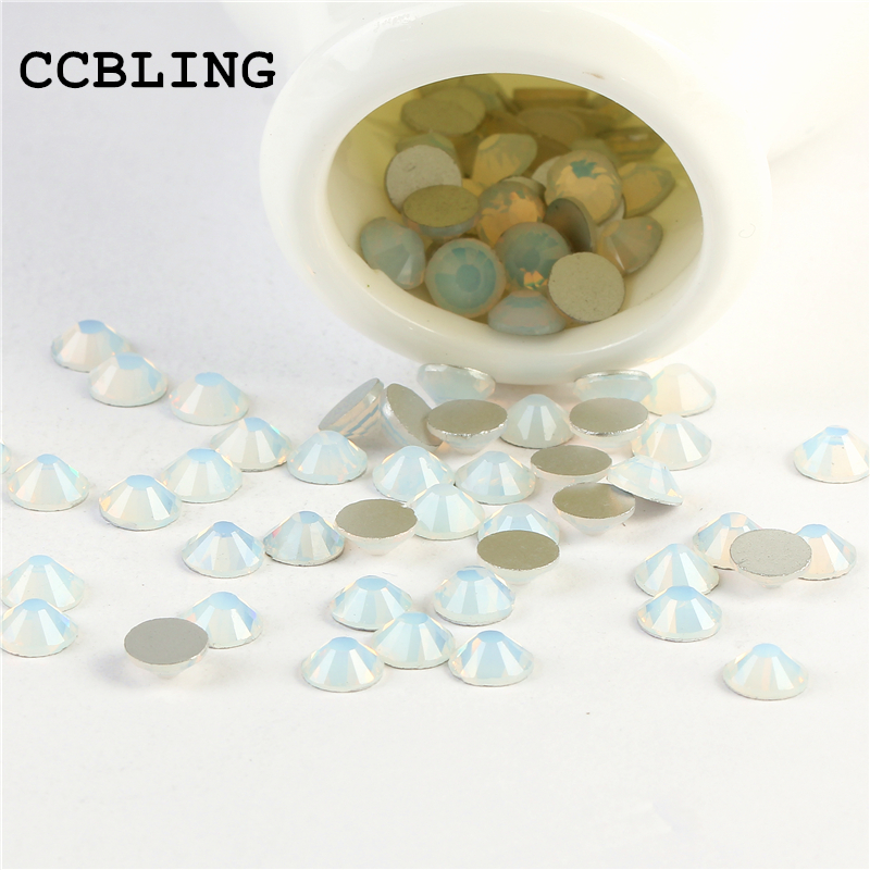 CCBLING Rhinestone Crystal White Opal ss3-ss30 Glue On Non Hotfix Flatback bead Rhinestones Nail Art Decorations DIY glitter flatback crystal resin rhinestones 2 6mm aquamarine ab color new design for nail art decorations stick drill non hotfix