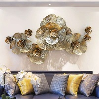 Luxury Gold Peony Flower 3D Wall Hanging Iron Craft Decoration Livingroom Sofa Background Mural Porch Mural Ornament R633