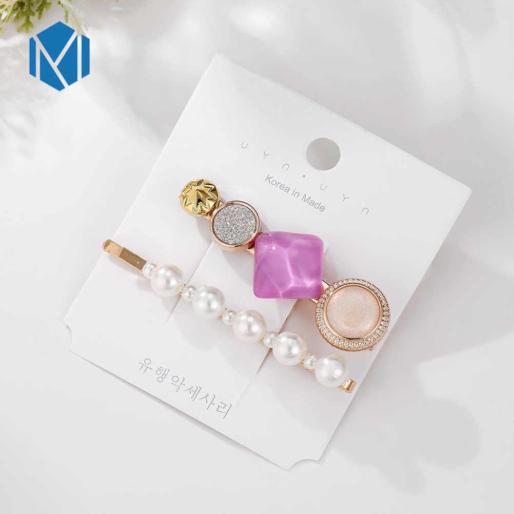 M MISM 2 шт./компл. корейские круглые хрустальные сплав жемчужные заколки для волос Макарон круг заколки для волос для женщин девочек аксессуары для волос
