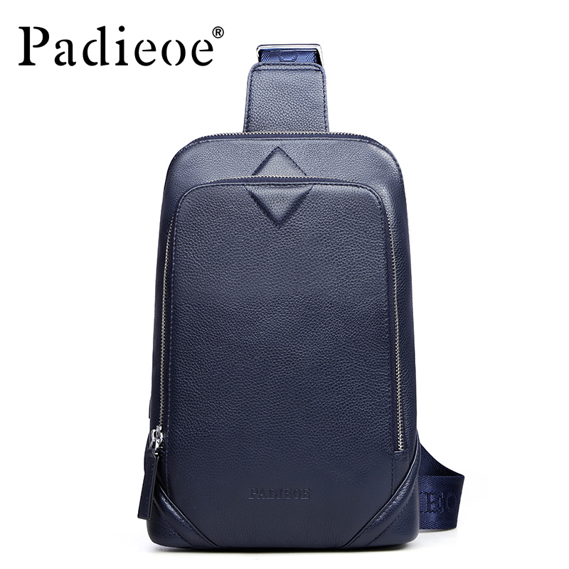 Brand Padieoe 2017 New Men's Chest Packs Shoulder Bags Men Genuine Leather Messenger Bag Travel Casual Designer Crossbody Bag