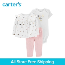 3pcs slogan bodysuit easy-on pants cute print button-front cardigan set Carter's baby girl spring autumn clothing 126H630
