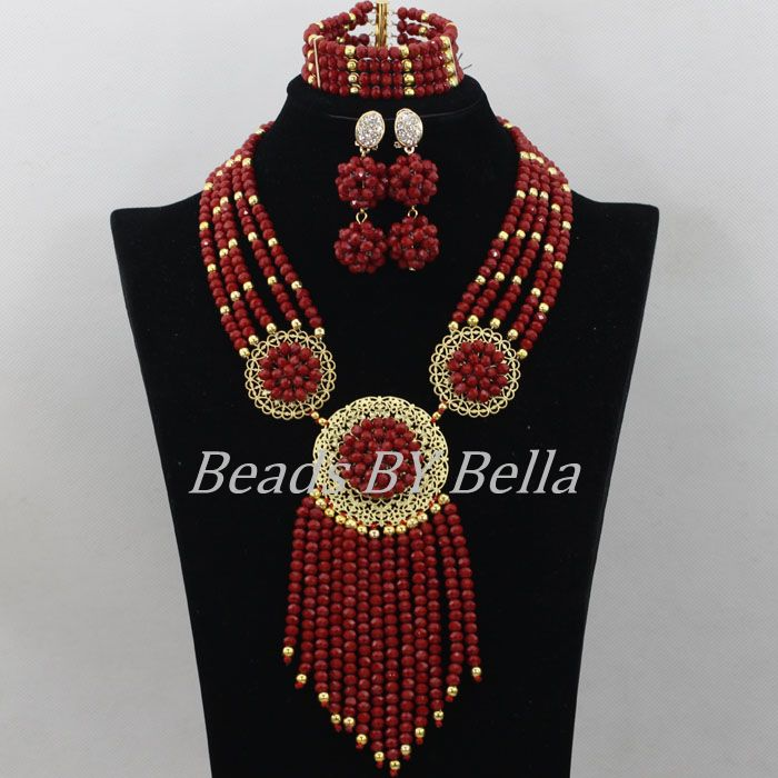 New 2017 Fashion African Beads Jewelry Set Nigerian Wedding Crystal Beads Necklace Bridal Jewelry Sets Free Shipping ABF523