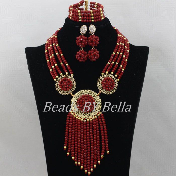 factory price 2aad6 2d874 Nuevo 2017 Moda Africana Cuentas conjunto de joyería nigeriana boda cristal  Cuentas collar Juegos de joyería para novia envío libre abf523