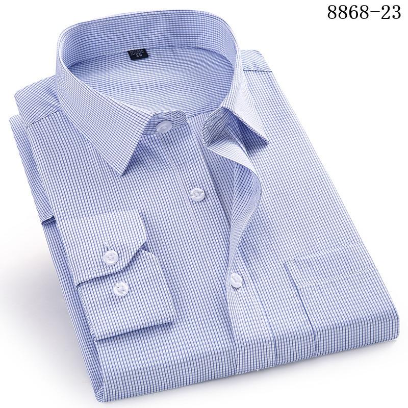 HTB11W8QWkvoK1RjSZFwq6AiCFXaR 4XL 5XL 6XL 7XL 8XL Large Size Men's Business Casual Long Sleeved Shirt White Blue Black Smart Male Social Dress Shirt Plus