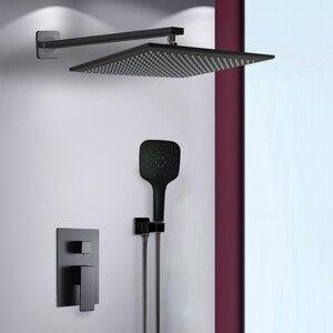 Image 4 - BAKALA Shower Faucets Black Wall Mounted Rainfall Bathroom Concealed Shower Mixer Taps Bath Rain Shower Set Bathtub Faucet BR BB