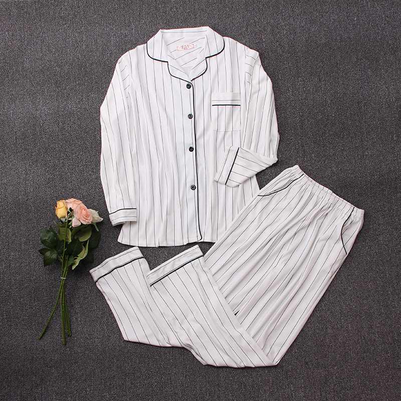 Casual Cotton Pajamas Sets Women Long Sleeve White Striped Sleepwear Suit 2 Piece Sexy Spring Homewear Lounge Pants Suits