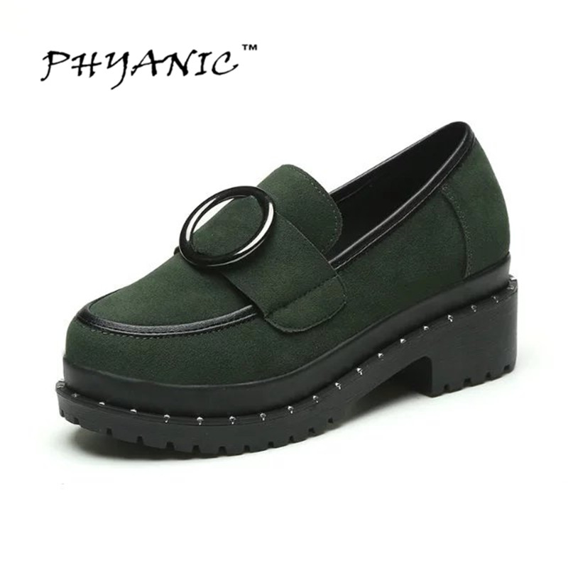 PHYANIC Vintage Platform Shoes Woman 2017 New Oxfords Metal Casual Creepers Slip On Loafers Spring Women Flats Shoes PHY3202 phyanic gold silver wedges sandals 2017 new platform casual shoes woman summer buckle creepers bling flats shoes phy4040
