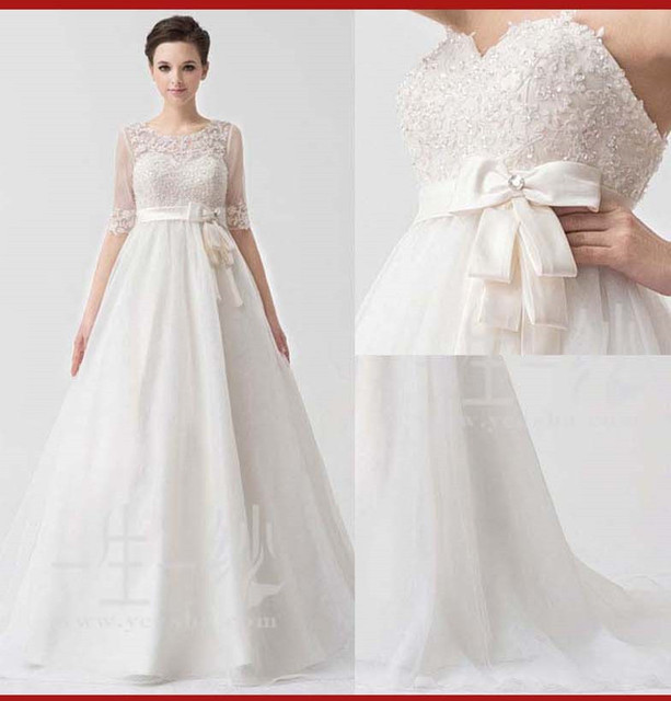 b5f6cf2fac0cd AL08 Free Shipping The Fitted Bodice See Through Lace Designer Pregnant  Women Wedding Dress