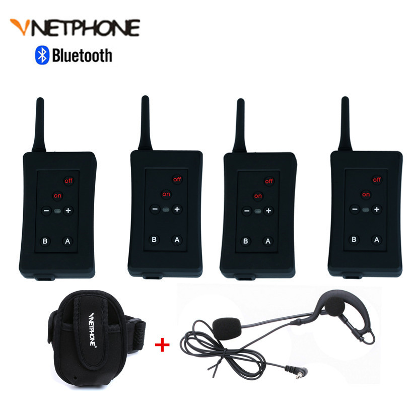 4 PCS Football Referees Intercom Headset Bluetooth Vnetphone FBIM 1200M Wireless Real Time Full Duplex BT Interphone+FM 800Mah