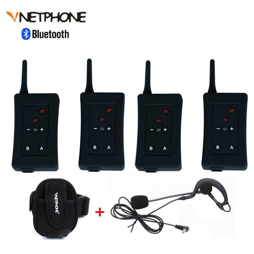4 pièces Football arbitres Interphone casque Bluetooth Vnetphone FBIM 1200 M sans fil en temps réel Full Duplex BT Interphone + FM 800 Mah
