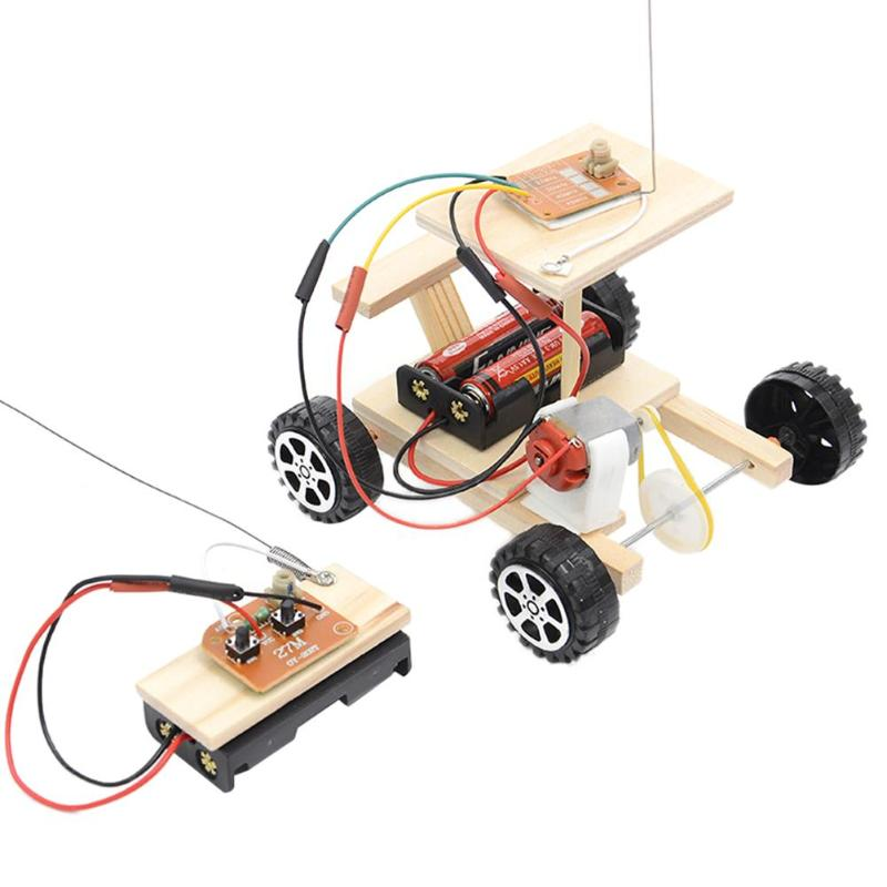 DIY Wireless Remote Control Racing Model Kit Wood Kids Physical Science Experiments Toy Set Assembled Car Educational Toys