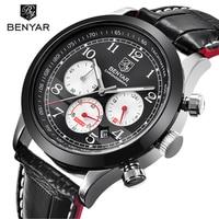 Luxury Brand BENYAR Waterproof Fashion Sporty Leather Watch Men's Date Clock Men's Quartz Watch