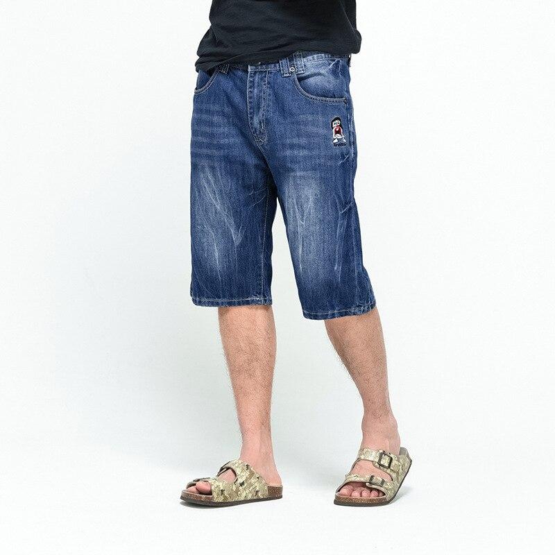 Knee Length Punk Style Dark Blue Short Denim Jeans For 2019 Summer